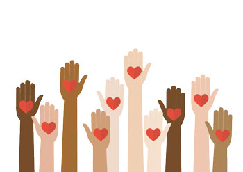 Hands with different skin colors are raised to the sky, palms open. In each palm is a paper heart.