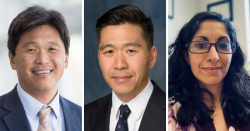 (From left) UF Health neurosurgeons Brian Hoh, M.D.; Daniel Hoh, M.D.; and Maryam Rahman, M.D.