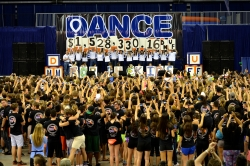 UF Dance Marathon participants celebrate as the final donation numbers are revealed during the event April 12.