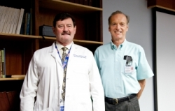 Frederick Moore, M.D., (left) and Bruce McKinley, Ph.D., are members of the research team that identified persistent inflammation, immunosuppression and catabolism syndrome (PICS). (Photo by Maria Farias)
