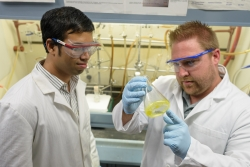 Akash Basak, left, a fifth-year UF chemistry student, and Rob Huigens, Ph.D., right, an assistant professor of medicinal chemistry, recently discovered a series of organic compounds that can kill dangerous bacterial biofilms.