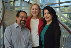 From right, Antonio Tovar, Ph.D., a community partner from the Farmworker Association of Florida; Jeanne-Marie Stacciarini, Ph.D., R.N., an associate professor in the UF College of Nursing; Gülcan Önel, Ph.D., an assistant professor in the Food and Resource Economics Department at the UF Institute of Food and Agricultural Sciences.