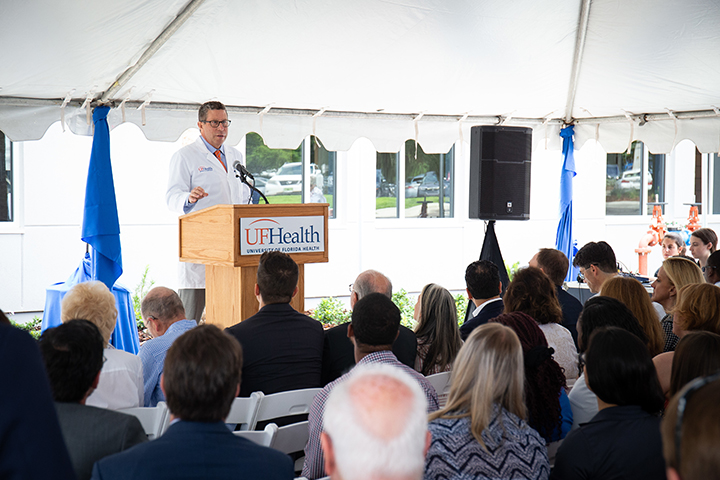 David R. Nelson, M.D. Senior Vice President for Health Affairs, UF, and President, UF Health, addresses attendees during the ribbon-cutting for the Norman Fixel Institute for Neurological Diseases at UF Health on Wednesday, June 19.