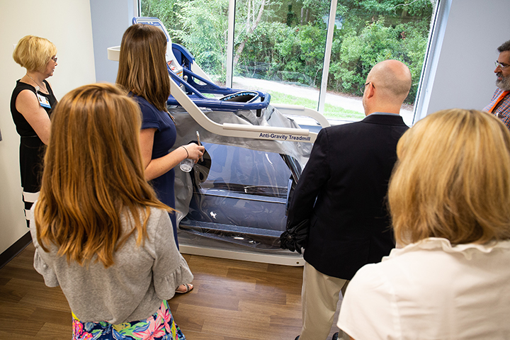 This treadmill uses a special support system that helps to reduce the body weight of the user by 70%, helping to assist with rehabilitative therapy.