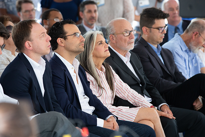 The Fixel family looks on during the speaking portion of the ribbon-cutting ceremony for the Fixel Institute for Neurological Dieases at UF Health.