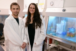 A group of researchers has found a way improve survival time by halting the spread of a common brain tumor in mouse models. The team included Loic P. Deleyrolle, Ph.D., a research assistant professor in the department of neurosurgery at UF's College of Medicine, and Regina Martuscello, a UF predoctoral fellow and graduate assistant in neurosurgery.