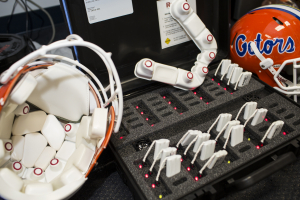 UF Health researchers used these helmet-mounted sensors to track football players' head impacts during practices and scrimmages.