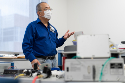 Dr. Samsun Lampotang, a UF professor of anesthesiology, is leading a worldwide network of coders, engineers, physicians and ham radio operators in designing a pandemic ventilator that can be built from hardware store parts such as PVC pipe and lawn-sprinkler valves for less than $250.