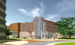 This architect's rendering of the George T. Harrell Medical Education Building at the University of Florida, provides a view looking northwest. The College of Medicine's new education facility will be located on the UF Academic Health Center campus between the McKnight Brain Institute and the Health Professions/Nursing/Pharmacy Complex. (Heery International)