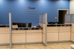UF Health Surgical Center – The Oaks check-in area. The center is now open for business. (Jesse Jones/UF Health)