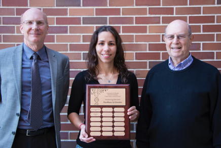 Pat Concannon, Director of UFGI, Lara Ianov, this year's winner of the Kenneth and Laura Berns Award for Excellence in Genetics, and former UFGI Director and former COM Dean Ken Berns.