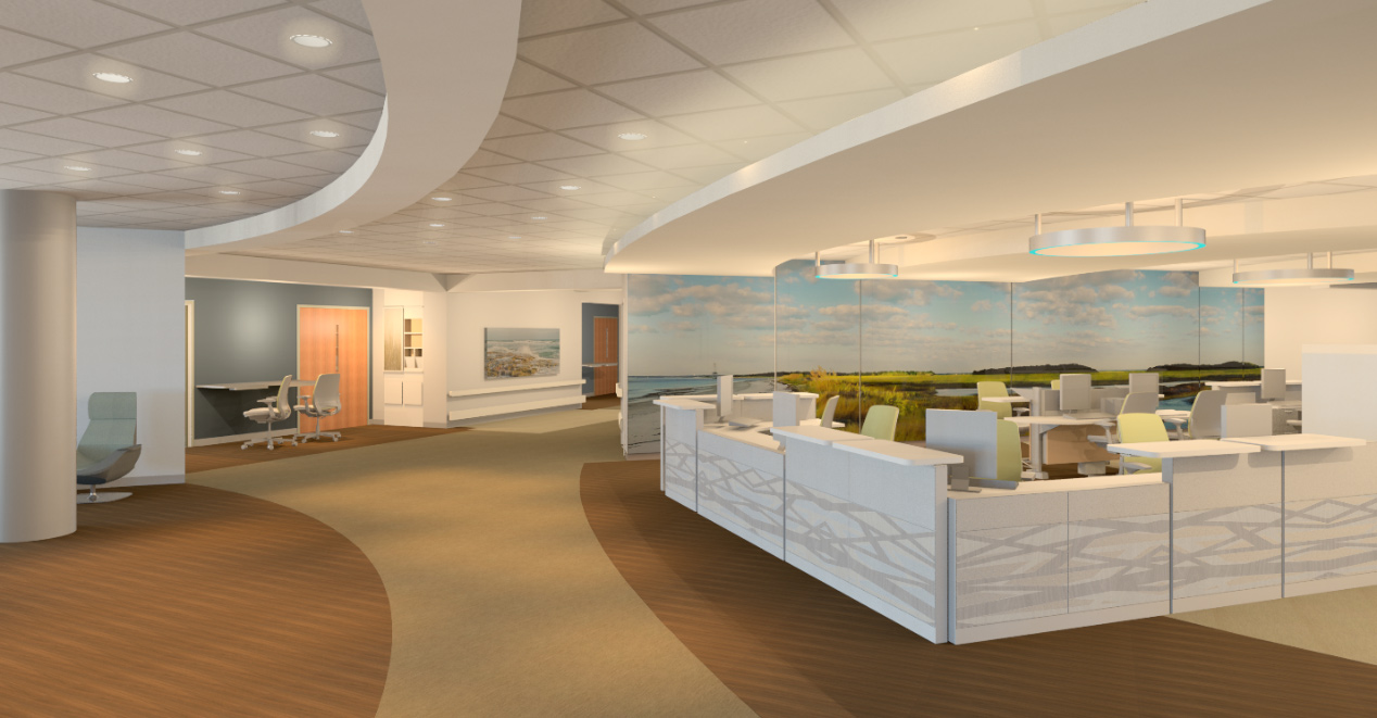 The new hospital's nursing stations blend modern design with soothing colors.