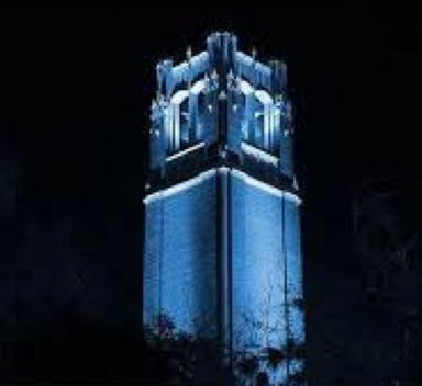 "Lighting of the Century Tower for ""Bluevember"" campaign."