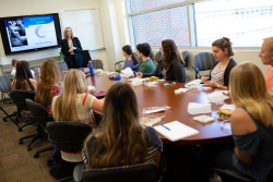 Carol and Mark Atkinson, Ph.D., address a spring 2018 directed research class whose students are mostly those with Type 1 diabetes. Mark Atkinson is director of the UF Diabetes Institute.