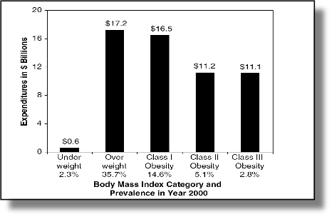 Bar chart representing the cost of obesity