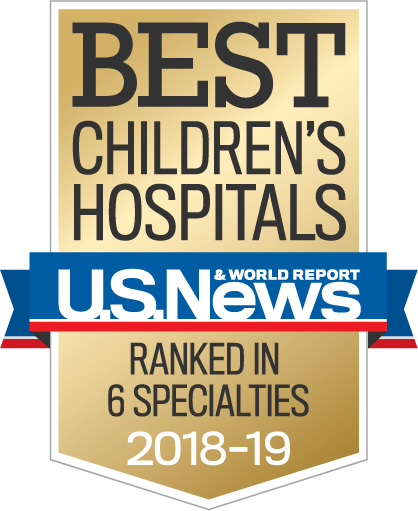 US News and World Report Badge - Best Children's Hospital in 6 specialties