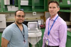 Aspirin therapy has been studied by UF Health cardiologists Ahmed N. Mahmoud, M.D., left, and Anthony A. Bavry, M.D.