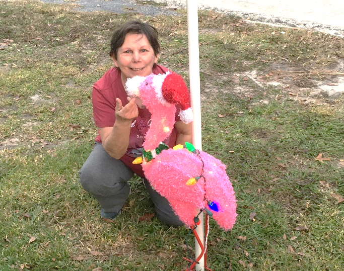 Judy crouching down on the ground posing with a flamingo Christmas decoration wearing a santa hat