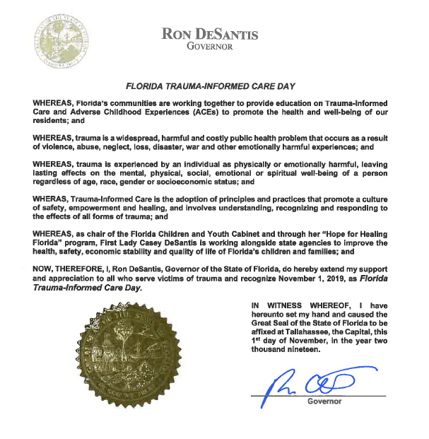 Official proclamation from Florida governor Ron DeSantis