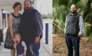 A before and after photo of Paddy. On the left, Paddy stands with his family overweight. On the right, Paddy stands by himself with significantly less weight.